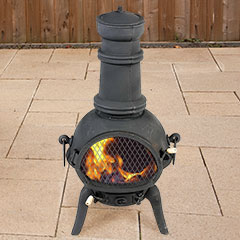 Greenfingers Rostock Chiminea with Grill - Large Black