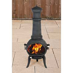 Greenfingers Rostock Chiminea with Grill - XLarge Black