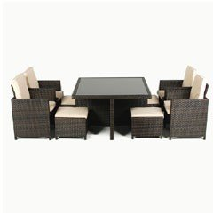 Ellister Corsica Rattan  4 Armchair 120cm Square Cubing Set  - Black/Brown Mix