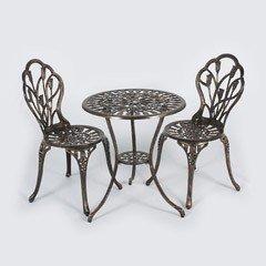 Ellister Tulip Aluminium 2 Armchairs 60cm Circular Bistro Set - Bronze