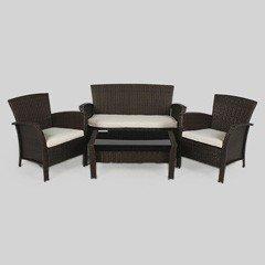 Greenfingers Alfresco Rattan Sofa Set - Black/Brown