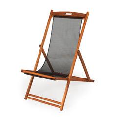 Ellister Portland FSC Acacia Deck Chair - Black