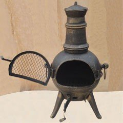 Embers Cast Iron Chiminea Bronze - 74cm