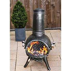 Greenfingers Kensington Chiminea with Grill - Medium  Silver/Black
