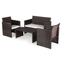 Greenfingers Moncafa Rattan 2 Chair and Sofa 90cm Rectangular Lounge Set