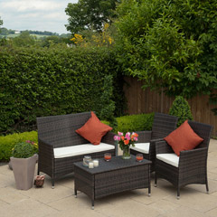 Greenfingers Selsey Rattan 2 Armchair & Sofa 90cm Rectangular Set - Black/Coffee