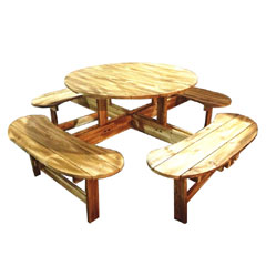 Greenfingers All-in-One Wooden Round 111cm Picnic Table and Bench Seats