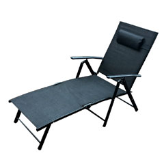 Greenfingers  Siena 3 Position  Sun Lounger - Black