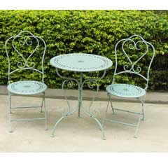 Greenfingers Lucia Wrought Iron 2 Chair 60cm Round Bistro Set