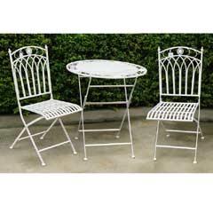 Greenfingers Atlanta Wrought Iron 2 Chair 70cm Rou