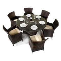 Ellister Odessa Rattan 6 Armchair 135cm Round Dining Set