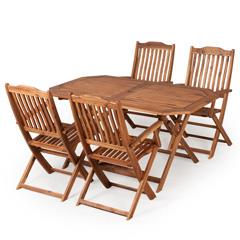 Ellister Cadiz FSC Acacia 4 High Back Armchair 150cm Rectangular Folding Dining Set