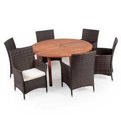 Greenfingers Moncafa 6 Rattan Armchair & 150cm Wooden Round Table Dining Set