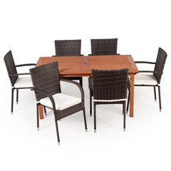 Greenfingers Jersey 6 Seater Dining Set - 150cm Table - Brown/Black