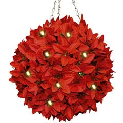 Festive Poinsettia Topiary Ball with LED Lights 28cm
