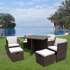 Ellister Corsica Rattan 4 Armchair & Footrests 112cm Cube Dining Set