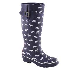 Brakeburn Ladies Stag Print Wellies Navy