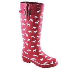 Brakeburn Ladies Stag Print Wellies Burgundy