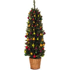 Festive Pencil Christmas Tree & Decorations 4ft  Green