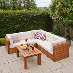 Ellister Genoa FSC Pine Corner Sofa Garden Set with Table