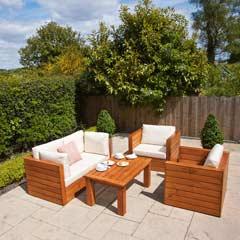 Ellister Genoa FSC Pine 2 Armchair & 2 Seat Sofa 110cm Rectangular Garden Set