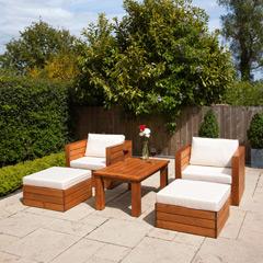 Ellister Genoa FSC Pine 2 Armchair and Footstools 110cm Rectangular Patio Set