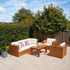 Ellister Genoa FSC Pine 2 Armchairs & 3 Seat Sofa 110cm Rectangular Garden Set