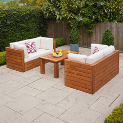 Ellister Genoa FSC Pine Double Sofa 100cm Rectangular Garden Set