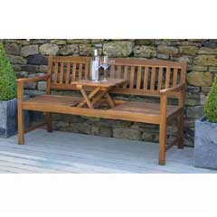 Pacific Florida Acacia Bench with Pop Up Table 159cm