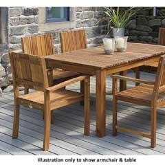 Fairhaven Acacia 4 Armchairs 150cm Rectangular Dining Set