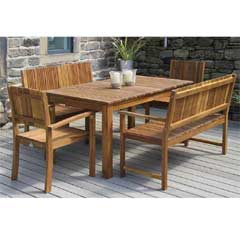 Pacific Fairhaven Acacia 2 Benches & 2 Armchairs 150cm Rectangular Dining Set