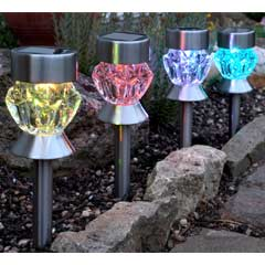 Smart Garden Solar Crystal Glass Marker Light - 4 Pack