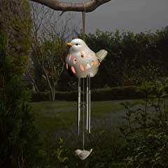 Smart Garden Ceramic Bird Solar Wind Chimes