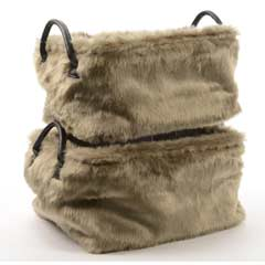 Christmas Artificial Fur Basket - Set of 2