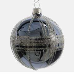 Christmas Baubles Jean Blue with Silver Glitter - Set of 6