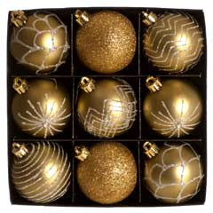 Christmas Baubles Gold & Silver Glitter Design - Set of 9