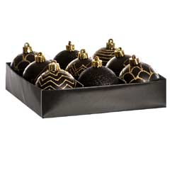 Christmas Baubles Black & Gold Glitter Design - Set of 9