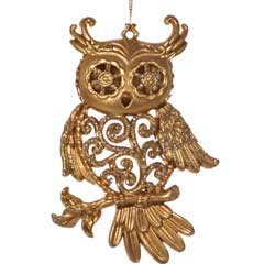 Christmas Baubles Matt Gold Owl