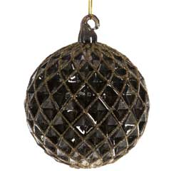 Christmas Baubles Black Honeycomb Ball with Gold