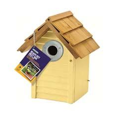 Gardman FSC Pine Beach Hut Nest Box - Creamy Yellow