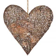Festive Christmas Wooden Heart Ornament 14cm high