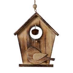Festive Christmas Wooden Birdhouse Ornament - 12cm