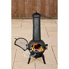 Embers Cast Iron Chiminea with BBQ Grill Black - 115cm