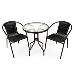 Greenfingers Rattan 2 Armchair 60cm Round Table Bistro Set