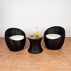 Greenfingers Venice Rattan 2 Chair 50cm Round Bistro Set